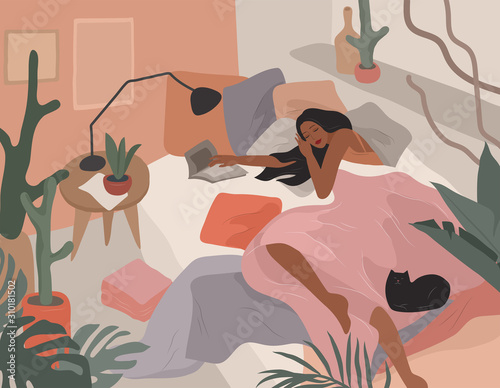Obraz Cute girl sleeping in bed after she read book. Feminine style. Daily life by young woman in bedroom interior with homeplants. Cartoon vector - fototapety do salonu
