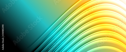 Fotomural  Rainbow fluid gradient background with abstract lines