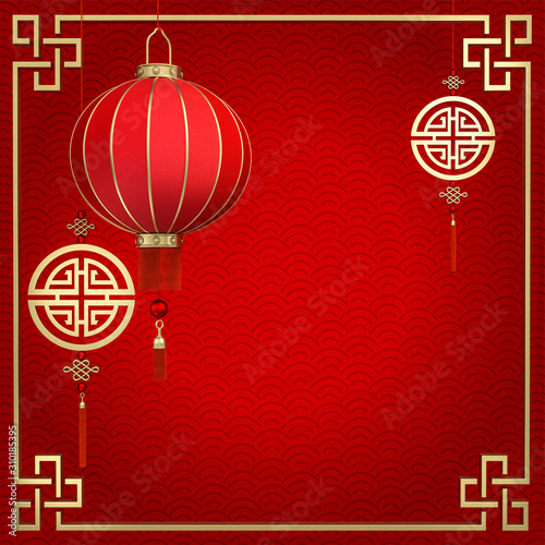 Photo Chinese lamp and gold coin on red background 3d rendering