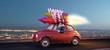 Frau fährt im Silvester Auto mit Raketenantrieb