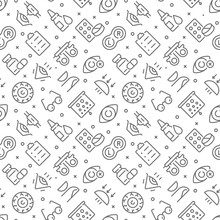 Ophthalmology Related Seamless Pattern With Outline Icons
