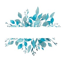 Watercolor Monochromatic Painting Of A Leaf Frame. Teal Monochromatic Painting Of Foliage Isolated On White. Logo Element