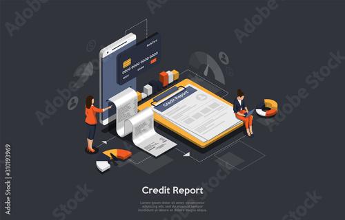 Fotografía  Isometric credit report concept