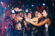 canvas print picture - Group of friends at club having fun. New year's party