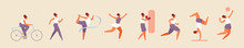 Woman Character Is Training Different Types Of Sports. Bike, Walking And Running, Gymnastics, Volleyball, Boxing