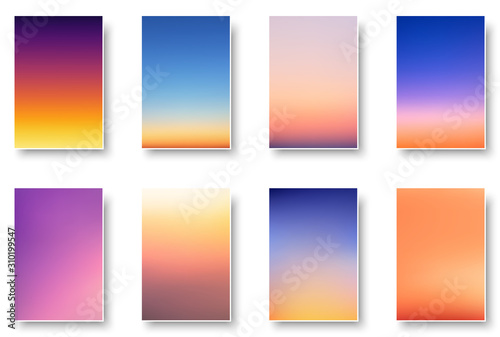Set of colorful sunset and sunrise sea. Blurred modern gradient mesh background paper cards.