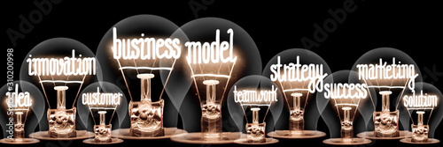 Fototapety, obrazy: Light Bulbs with Business Model Concept
