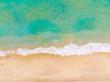 Aerial view white sand sea beach