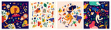 Fototapeta Abstract - Decorative abstract collection with colorful doodles. Hand-drawn  modern illustrations