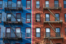 Old Blue And Red Brick Buildin...