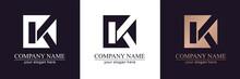 Letter K V Logo Or Monogram. B...