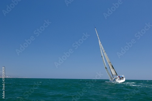 Yacht Competes In Team Sailing Event Wallpaper Mural