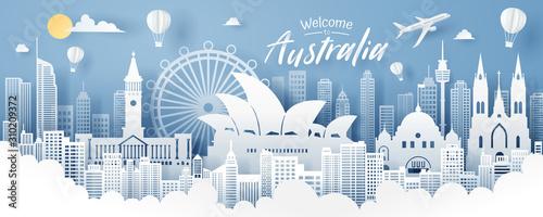 Photo Paper cut of Australia landmark, travel and tourism concept.
