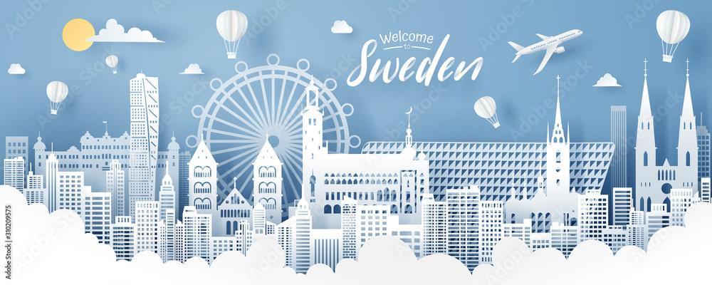 Foto Paper cut of sweden landmark, travel and tourism concept.