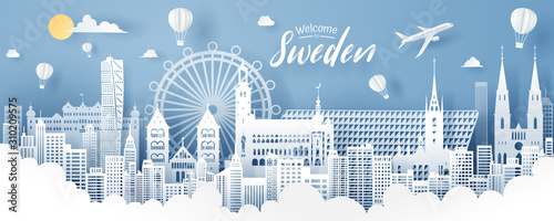 Paper cut of sweden landmark, travel and tourism concept. Canvas