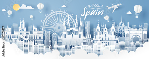 Paper cut of Spain landmark, travel and tourism concept. Fotobehang