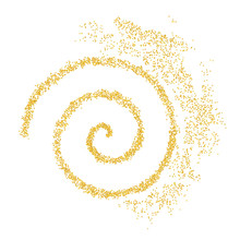 Background Plume Golden Texture Spiral Crumbs. Gold Dust Scattering On A White Background. Sand Particles Grain Or Sand Assembled. Vector Backdrop Dune, Pieces Abstraction. Illustration Grunge Design
