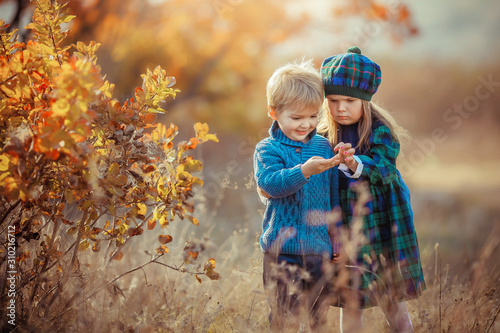 Fototapeta Children brother and sister walk in the autumn yellow forest dressed in French Provence style. obraz