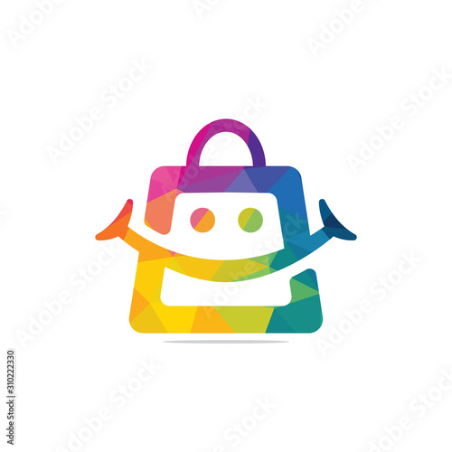 Smiling shopping bag vector logo design. Canvas Print