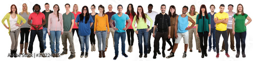 Photo Multicultural large group of young people smiling happy multi ethnic full body s