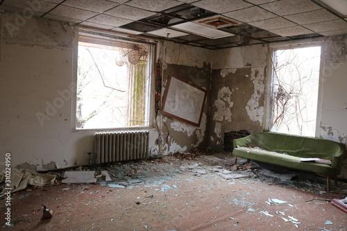 Abandoned mental asylum psychiatric hospital Canvas Print