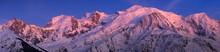 Mont Blanc Massif At Twilight. Panoramic View Includes Aiguille Du Midi, Mont Blanc Du Tacul, Mont Maudit, Dome Du Gouter, Bossons And Taconnaz Glacier. Haute-Savoie (74), European Alps, France