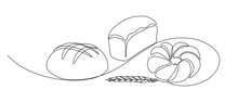 Bakery Products With Wheat Ear In Continuous Line Art Drawing Style. Black Line Sketch On White Background. Vector Illustration