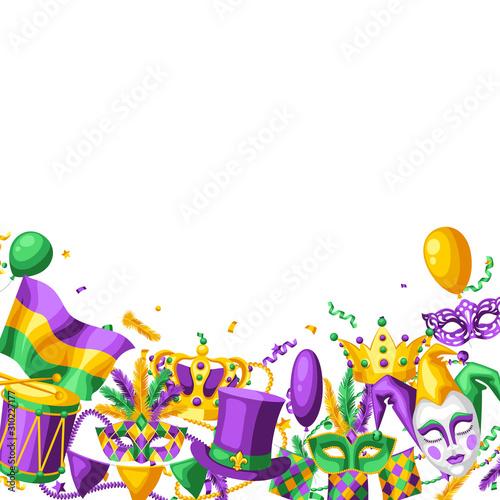 Mardi Gras party greeting or invitation card.