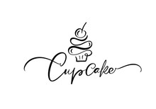 Cupcake Vector Calligraphic Text With Logo. Sweet Cupcake With Cream, Vintage Dessert Emblem Template Design Element. Candy Bar Birthday Or Wedding Invitation