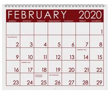 2020: Calendar: Month Of Febru...