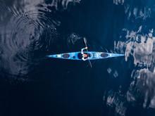 Blue Kayak With Man Sea, Open ...