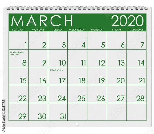 Cuadros en Lienzo 2020: Calendar: Month Of March