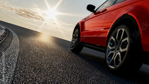 Fototapeta 3d car sedan rides on the road to meet the sun, concept 3d render for advertisin