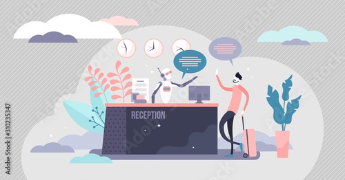 Cuadros en Lienzo Reception robot automation process, flat tiny person vector illustration