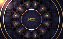 Luxury Dark Blue Background A Combination With Golden Light And Mandala Ornament Decoration. Modern And Elegant Vector Design For Use Element Cover, Wedding Invitation Banner, Card, Wallpaper