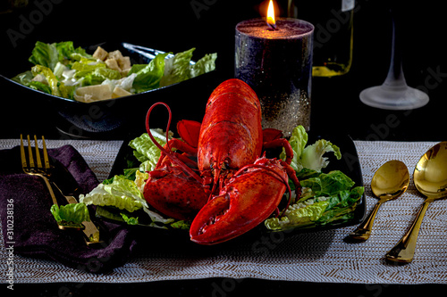 Night photo of special lobster dinner for Christmas Wallpaper Mural