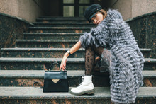 Stylish Woman In Winter Fur Co...