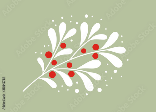 Fototapeta Christmas white mistletoe branch with red berries.