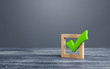 Leinwandbild Motiv Green voting tick in a box. Checkbox. Democratic elections, referendum. The right to choose, change of power. Checklist for verification and self-discipline. Necessary quality criteria approval symbol