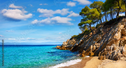Paradise Beach Greece Sithonia Chalkidiki. Picturesque landscape panorama view at Aegean Sea with white sandy beach pine trees and rocks.