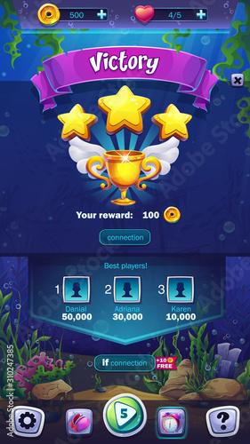 Mahjong fish world - vector illustration mobile format victory field Fotobehang