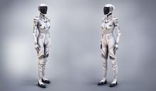 Female Cyborg Suit 3d Illustra...
