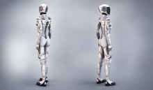 Female Cyborg Suit 3d Illustra...
