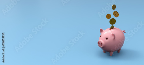 Foto Stylized ceramic piggy bank on blue mockup background, 3D Illustration
