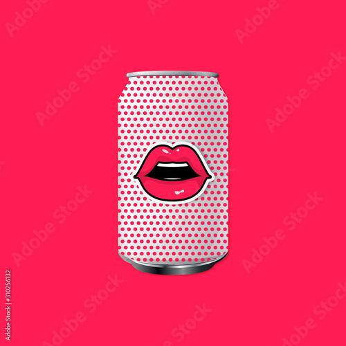 Photo concept pack de boisson avec bouche pop art
