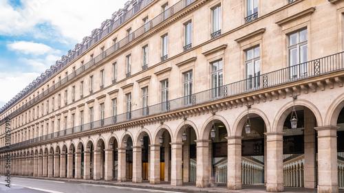 Leinwand Poster Paris, panorama of the rue de Rivoli, typical building, parisian facade