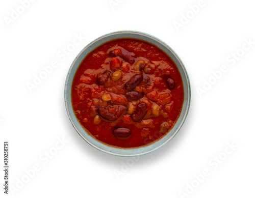 Isolated image of a bowl of delicious chilli bean soup, in a rustic bowl, with drop shadow Canvas Print