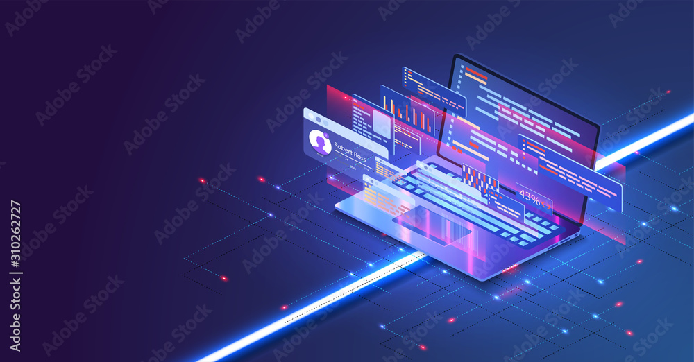 Fototapeta Coding and programming app in laptop for Web developer concept based isometric design . Web Development concept, programming and coding. Laptop with virtual screens on blue background. Vector