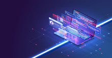 Coding And Programming App In Laptop For Web Developer Concept Based Isometric Design . Web Development Concept, Programming And Coding. Laptop With Virtual Screens On Blue Background. Vector