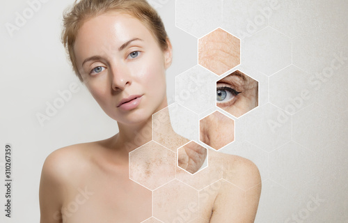 Fototapety, obrazy: Young beautiful woman with clean perfect skin and snowflakes close-up. Beauty, youth, skin care